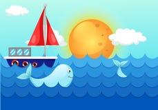 Landschaftsmeereswellen mit Wal und Boot Stockbilder