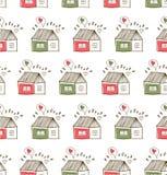 Landschaftsmuster mit netten Häusern Nahtloser gezeichneter Hintergrund lizenzfreie abbildung