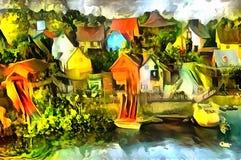 Landschaftspanoramainterpretation im Stil des Surrealismus Lizenzfreie Stockbilder