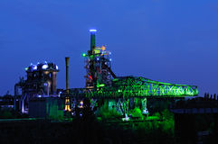 Landschaftspark Duisburg Nord. Night shot of Landschaftspark Nord, old illuminated industrial ruins in Duisburg, Germany Royalty Free Stock Photography