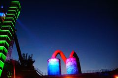 Landschaftspark Nord Duisburg. By night nachts Nacht beleuchtet NRW industry industrie denkmal Royalty Free Stock Photo