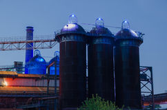 Landschaftspark Nord at night in Duisburg, Germany Royalty Free Stock Photography