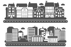 Landschaftsstadt-Fahne Stockbilder