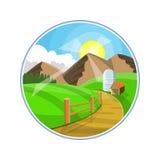 Landschaftsstraßen-Landschaftsillustration Ländliche Gebiete mit Bergen, Hügeln und Feldern Naturbahn auf Ackerland lizenzfreies stockfoto