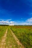 Landschaftsstraßenfußweg durch ein Feld Lizenzfreie Stockfotografie