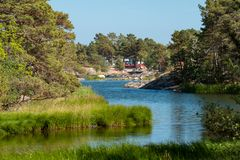 Landschaftsszene schwedisches Archipel-Ostsee stockfoto