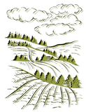 Landschaftstinten-Skizzenzeichnung Ländliche gravierte Landschaft Lizenzfreie Stockfotos