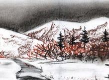 Landschaftsvorfrühling Tannen, Berge, Fluss, Feld, Wald vektor abbildung