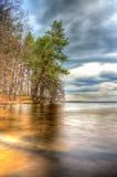 Landschaftswaldhimmel und -wasser Stockbilder