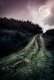 Landschap in aard van mooie volle maan met een modderige weg thr Stock Fotografie