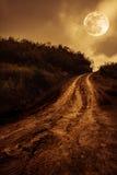 Landschap in aard van mooie volle maan met een modderige weg thr Stock Foto's
