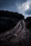 Landschap in aard van mooie volle maan met een modderige weg thr Royalty-vrije Stock Foto