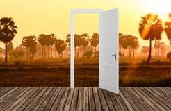 Landschap achter de openings 3D deur, Stock Foto's
