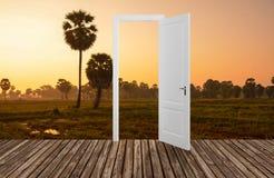 Landschap achter de openings 3D deur, Royalty-vrije Stock Afbeeldingen