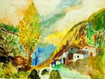 Landschap in bergen de Pyreneeën, het schilderen Royalty-vrije Stock Fotografie