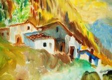 Landschap in bergen de Pyreneeën, het schilderen, illustratie royalty-vrije stock foto's