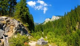 Landschap in bergen en de blauwe hemel Stock Foto