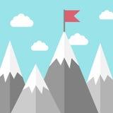 Landschap, bergen met vlag Stock Illustratie