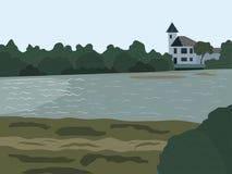 Landschap bij de rivier Stock Afbeeldingen