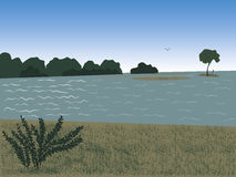 Landschap bij de rivier Royalty-vrije Stock Foto's