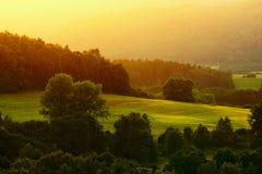 Landschap bij sunse Royalty-vrije Stock Afbeelding