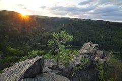 Landschap bij Zonsondergang Stock Foto's
