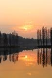 Landschap bij Zonsondergang Royalty-vrije Stock Fotografie
