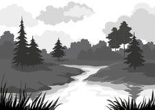 Landschap, bomen en riviersilhouet Royalty-vrije Stock Afbeeldingen