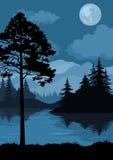 Landschap, bomen, maan en bergen Royalty-vrije Stock Foto's