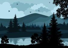 Landschap, bomen, rivier en bergen Stock Afbeelding