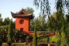 Landschap in Chinese tempel Stock Foto