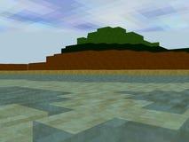 Landschap dat van pixelvierkanten wordt gemaakt met groot watergebied Royalty-vrije Stock Foto