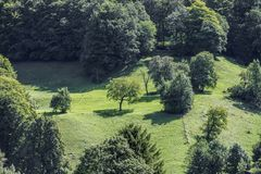 Landschap in de bergen van Zwitserland Stock Foto's