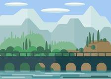 Landschap De schilderachtige brug op de achtergrond van bergen en groene vegetatie nave Water Duidelijke hemel met wolken royalty-vrije illustratie