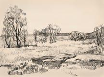 Landschap. De tekening van de hand Stock Foto's