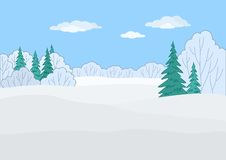 Landschap, de winterbos Stock Afbeeldingen