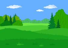 Landschap, de zomer bosopen plek Stock Foto's
