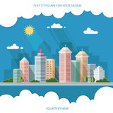 Landschap - de zomercityscape illustratie stadsontwerp, metro Stock Afbeelding