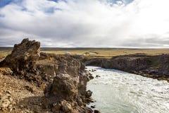 Landschap dichtbij Godafoss warerfall in Iceland3 Stock Afbeeldingen