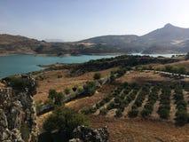 Landschap dichtbij Zahara, Andalusia, Spanje tijdens Feria stock afbeeldingen