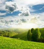 Landschap en bewolkte hemel Royalty-vrije Stock Afbeelding