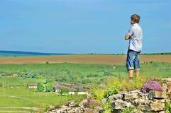 Landschap en een mens Royalty-vrije Stock Afbeelding