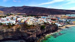 Landschap en mening van mooie Fuerteventura bij Canarische Eilanden, Spanje royalty-vrije stock foto