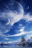 Landschap in fantasieplaneet Royalty-vrije Stock Afbeeldingen