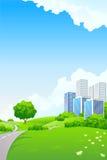 Landschap - groene heuvels met boom en cityscape royalty-vrije illustratie