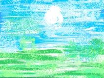 Landschap, grunge achtergrond Royalty-vrije Stock Afbeelding