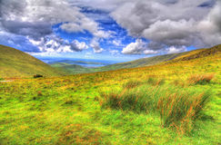Landschap & x28; HDR& x29; Conor Pass, Provincie Kerry, Ierland stock foto's