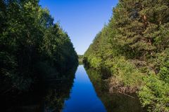 Landschap, heldere dag Bomen, water, heldere hemel royalty-vrije stock afbeeldingen