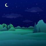 Landschap, het bos van de nachtzomer stock illustratie