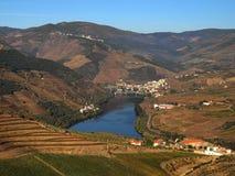 Landschap het Noord- van Portugal met mening aan Douro-rivier royalty-vrije stock fotografie